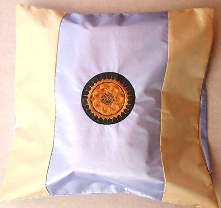 Blue yellow square cushion cover with embrodary decor on centre, gift for new home owner collection.