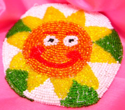 Sun face flower design fashion beaded bag, a perfect gift for beads lovers.