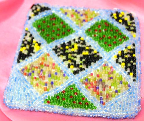 Blue fashion beaded purse with assorted color square pattern design