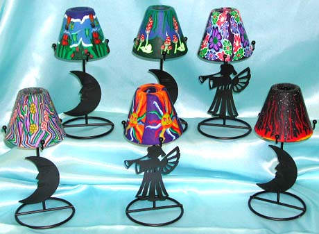 Assorted color moon / angel pattern table lamp style fimo iron candle holder, suppliers gift wholesale catalog. Various pattern design to suit your need!