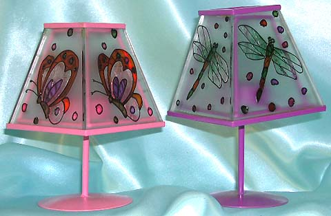 Table lamp stlye pink / purple color fashion candle holder with painted butterfly / dragonfly figure on cover.A beauty you can not resist!