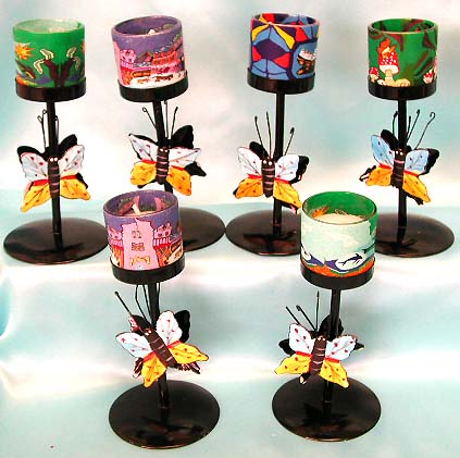 Butterfly pattern assorted color and design fimo iron candle holder, gift idea for a new home. Your home will become a most popular place for your friends and family membes to visit by decrating it with one of our quality fashion candle holders!
