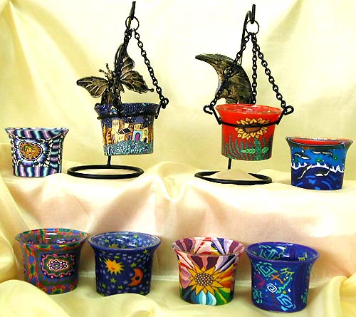 Suspending style assorted color and painted design moon / butterfly pattern fimo candle holder