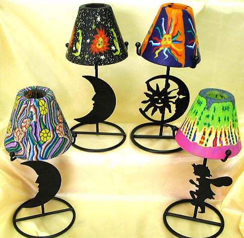Table lamp style assorted color and pattern design fimo iron candle holder, contemporary art nouveau collection online.