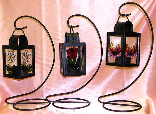 Hand painting fashion glass candle holder in assorted floral pattern design, unique handcrafted designers fashion trend. A perfect summer garden decoration!