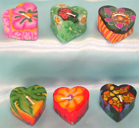 Assorted color and pattern design heart love style fashion fimo candle set. Perfect for Valentine gift giving!