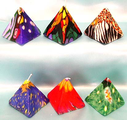 Pyramid style assorted color and pattern design fashion fimo candle set. Making your day more sweet and warmer with this new fashion gift trend!