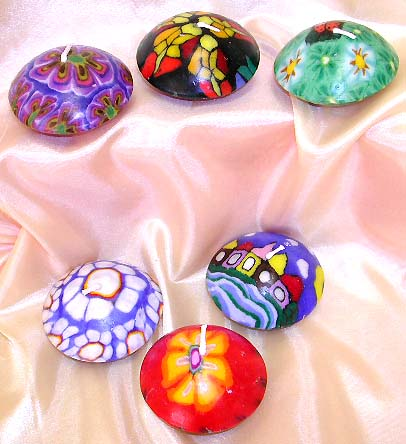 Fashion fimo candle set in disk shape design ,  Various design to suit your every day's mood!