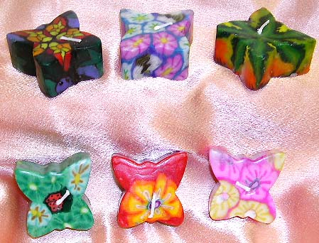 Fashion fimo candle set in assorted pattern decor butterfly style design