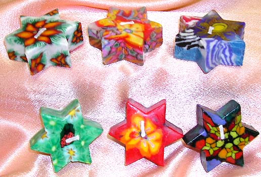 Online fashion trendy gift-fashion fimo candle set in assorted pattern decor star style design