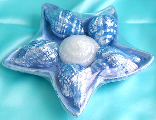 Blue sea star and sea shell pattern fashion ceramic candle set,
