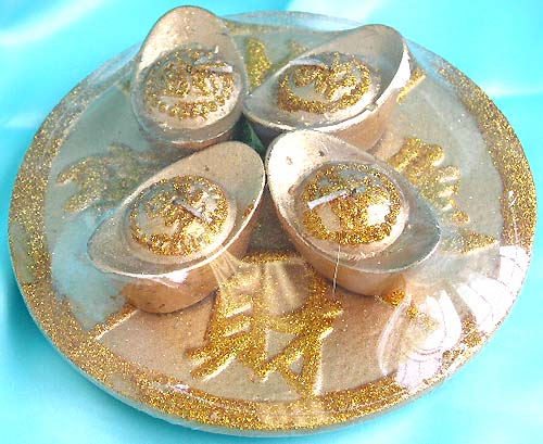 "Golden oriental "" wealth plate' style fashion candle set, Vintage art craft accessory supply. Perfect for Chinese new year gift giving!"